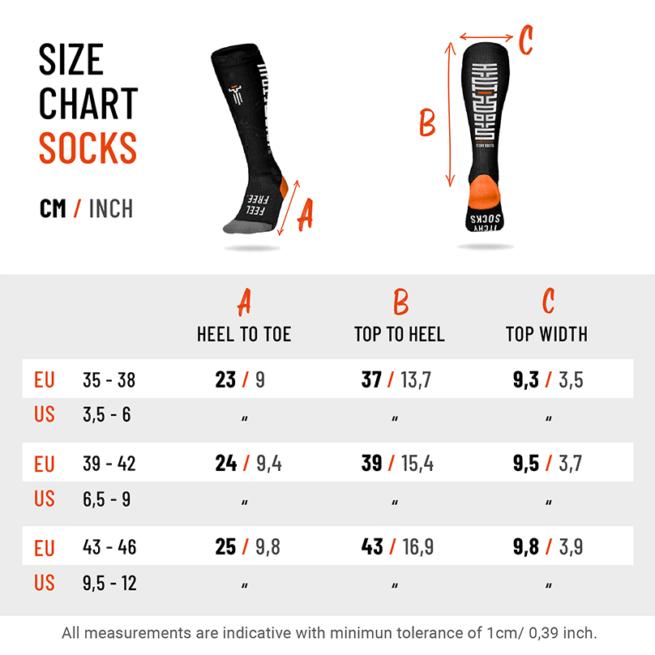 Itchy Boots Motorbike Socks Size Chart